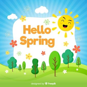Ciao primavera sfondo piatto