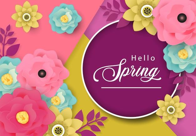 Ciao primavera sfondo vettoriale