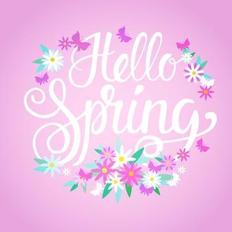 Ciao primavera stagione testo banner astratto fiori sfondo