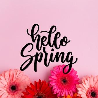 Ciao primavera tipografia con fiori