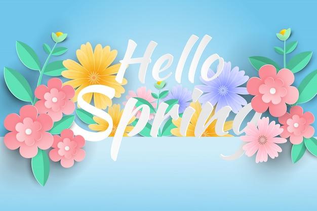 Ciao primavera vendita sfondo con bellissimi fiori di carta.