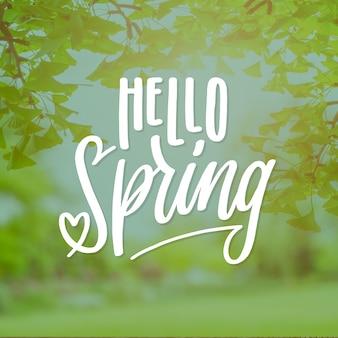 Ciao scritte di primavera con foto di vegetazione