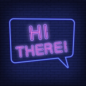 Ciao, segno al neon. nuvoletta con testo