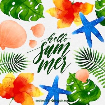 Ciao sfondo estate con conchiglie e stelle marine in stile acquerello