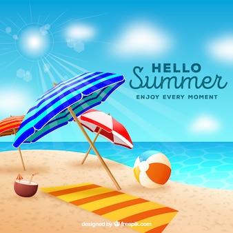 Ciao sfondo estate con elementi di spiaggia in stile realistico