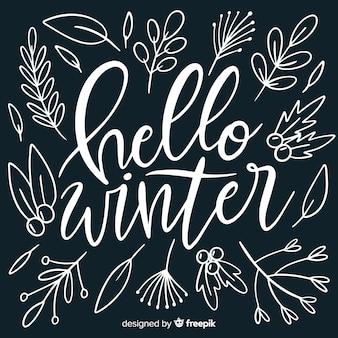 Ciao sfondo lettering inverno