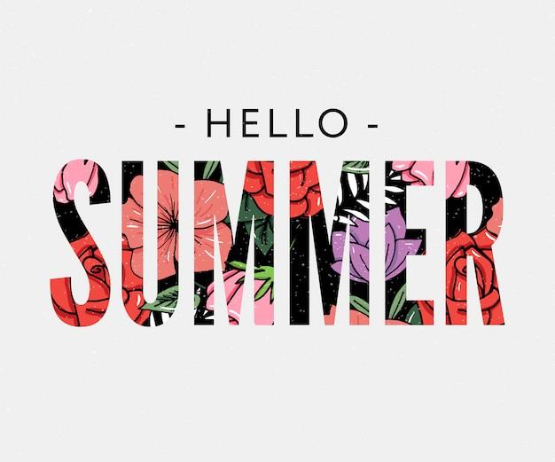 Ciao slogan vacanza estiva con illustrazione di ananas e fiori tropicali