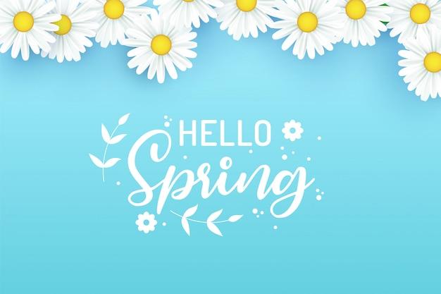 Ciao spring design con elementi realistici 3d di fiori freschi per la stagione primaverile.