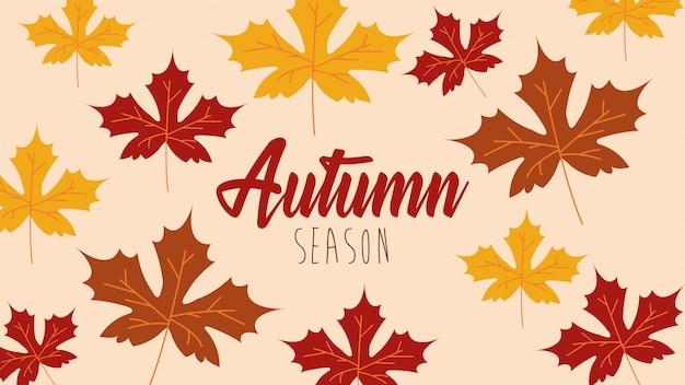 Ciao stagione autunnale modello di foglie di acero
