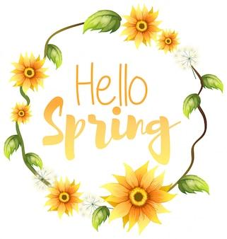 Ciao testo di primavera con cornice floreale