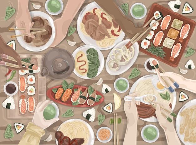 Cibo asiatico, orientale, pranzo giapponese, set di piatti cinesi