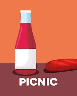 Cibo da picnic con bottiglia di ketchup e bistecca di carne