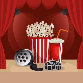 Cibo del cinema con icone del cinema