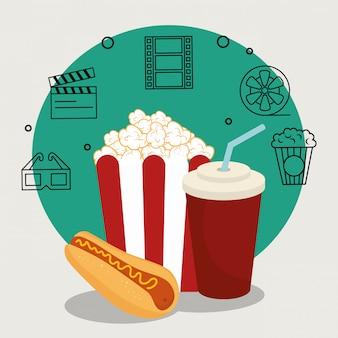 Cibo del cinema con set icone del cinema