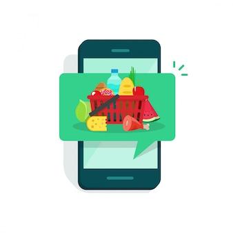 Cibo della drogheria sull'illustrazione dello schermo dello smartphone o del telefono cellulare nello stile piano del fumetto