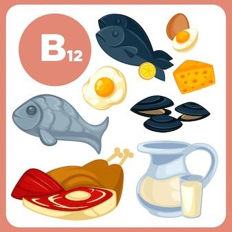 Cibo di icone con vitamina b12.