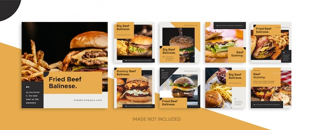 Cibo e promozione del ristorante della raccolta del modello della posta di media sociali