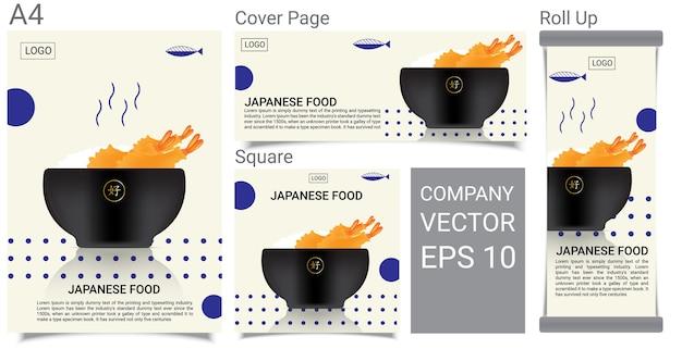 Cibo giapponese sano con bandiera di riso tempura di gamberetti