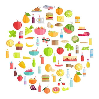 Cibo gustoso, prodotti alimentari e bevande rinfrescanti