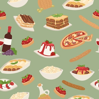 Cibo italiano con cucina pizza, pranzo pasta, spaghetti e formaggio, dessert e vino senza cuciture