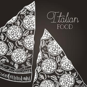 Cibo italiano disegnato a mano porzione pizza italiana