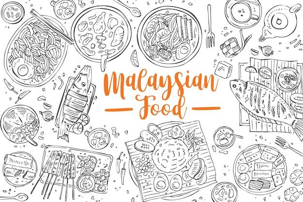 Cibo malese disegnato a mano, sfondo di cibo asiatico vista dall'alto,