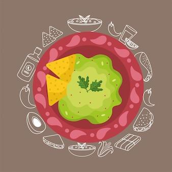 Cibo messicano con salsa tradizionale di avocado