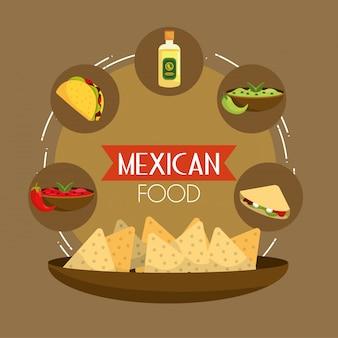 Cibo messicano di tacos con tequila e avocado