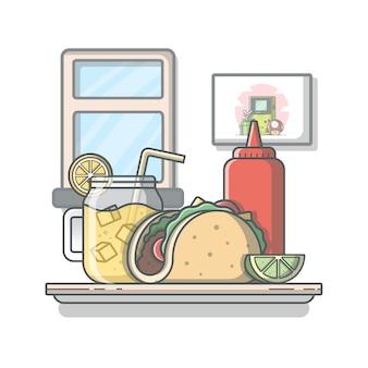 Cibo messicano taco con limonata e ketchup. illustrazione tradizionale di tacos. sfondo bianco isolato