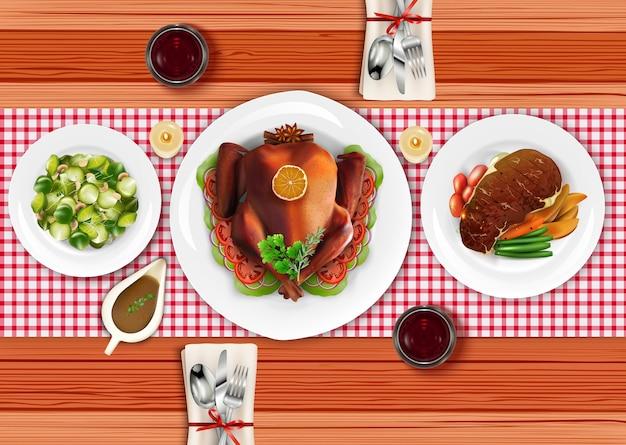 Cibo realistico con bistecca di carne cotta
