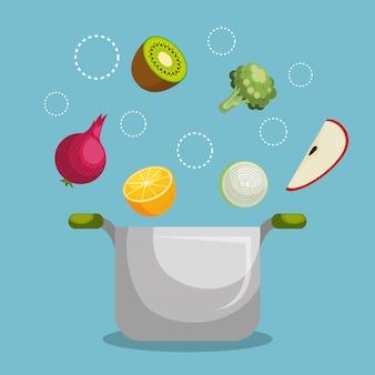 Cibo sano di frutta e verdura