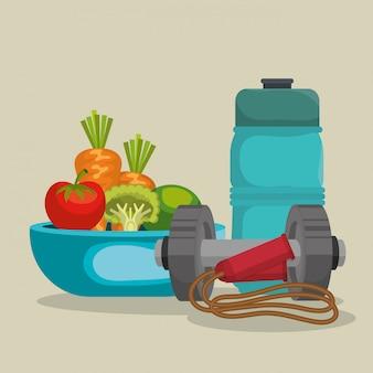 Cibo sano e attrezzature per il fitness