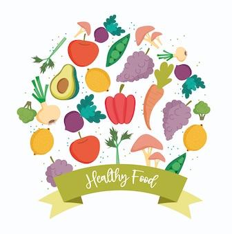 Cibo sano, prodotti biologici dieta bilanciamento nutrizionale fresco