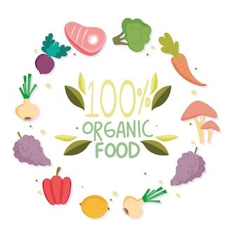 Cibo sano, scritte con frutta e verdura biologica bilanciano la dieta nutrizionale