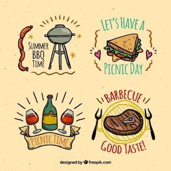 Cibo schizzi di barbecue e pic-nic etichette