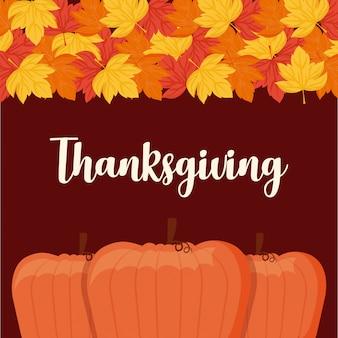 Cibo zucche per il giorno del ringraziamento con foglie d'acero