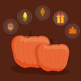 Cibo zucche per il giorno del ringraziamento con set s