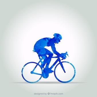 Ciclista blu in stile astratto