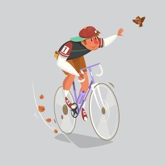 Ciclista in azione. illustrazione vettoriale piatto