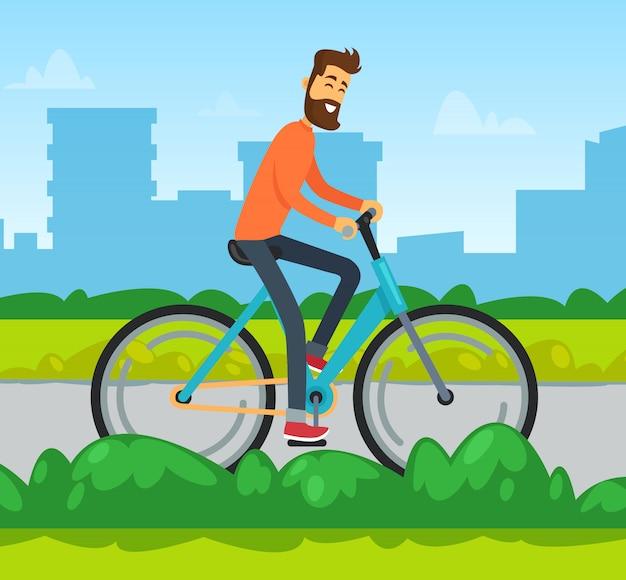 Ciclista in città, uomo in bicicletta, trasporto