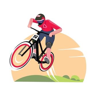 Ciclista in mountain-bike nel vettore dell'illustrazione del fondo della natura