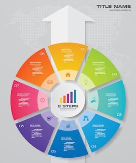 Ciclo e freccia grafico infografica per la presentazione dei dati