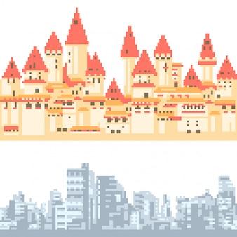 Ciclo orizzontale della città isolato pixel art