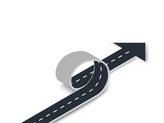 Ciclo stradale con vista isometrica freccia. strada tortuosa 3d