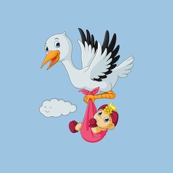Cicogna che trasporta la neonata sveglia