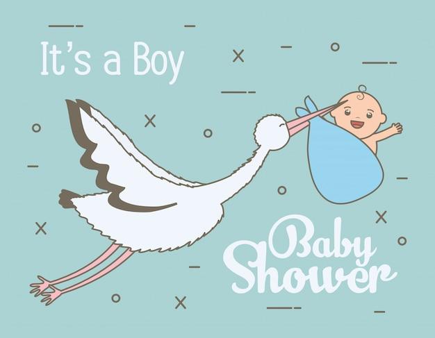 Cicogna che vola con il neonato sveglio in borsa