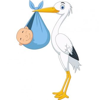 Cicogna del fumetto che trasporta un neonato