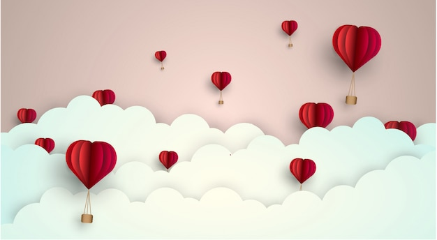 Cielo amore palloncino nuvola. illustrazione di vettore- stile di taglio della carta.