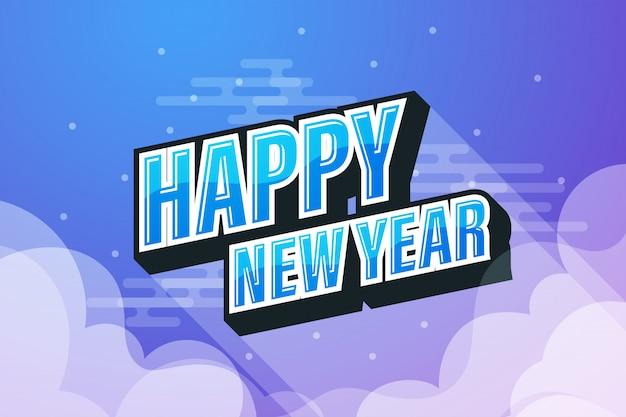 Cielo blu con discorso testo felice anno nuovo
