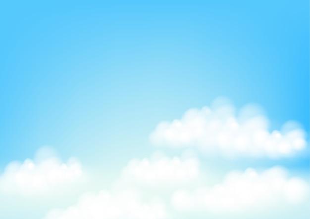 Cielo blu con nuvole bianche. illustrazione vettoriale